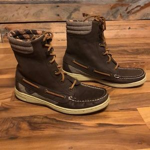 Sperry Hikerfish Leather Boots Brown Size 6